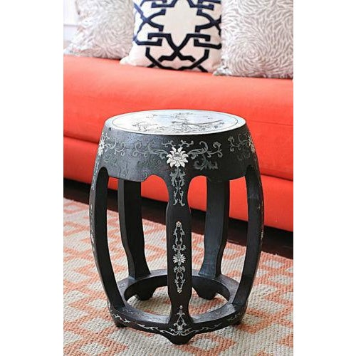 Antique Hand Carved Chinoiserie Garden Stool - Image 2 of 3