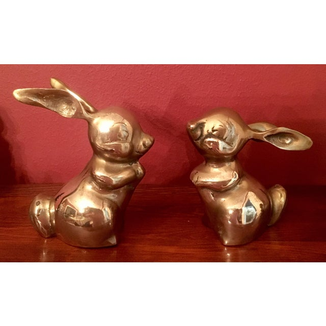 Image of Mid-Century Brass Rabbits - A Pair