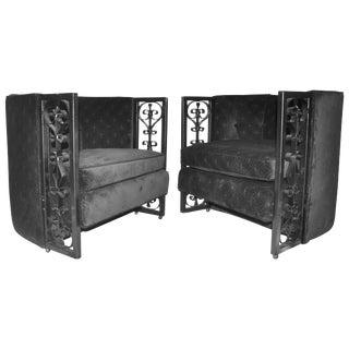 Mid-Century Spanish Revival Iron Arm Chairs