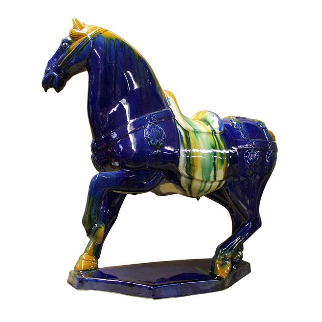 Chinese Blue & Yellow Ceramic Marching Horse Figure - Image 3 of 6
