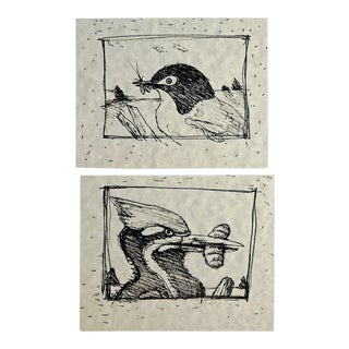 Birds & Bugs Prints - A Pair