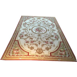 A Decorative Victorian/ Abusson Design Needlepoint Rug - 5' X 8'