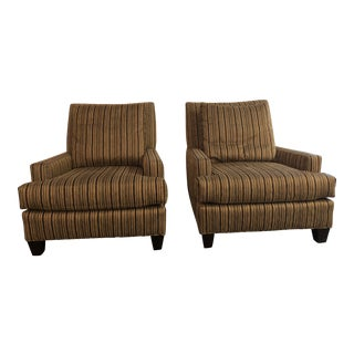 Striped Contemporary Club Chairs - A Pair
