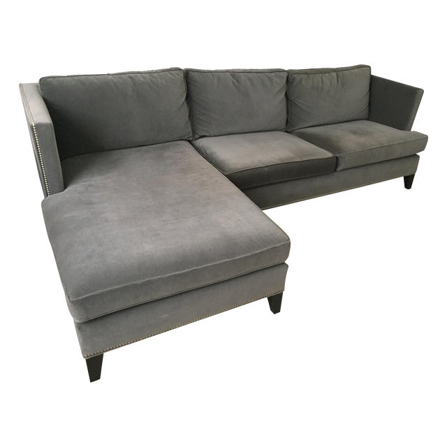 Williams Sonoma Home Grey Velvet Sectional - Image 1 of 3