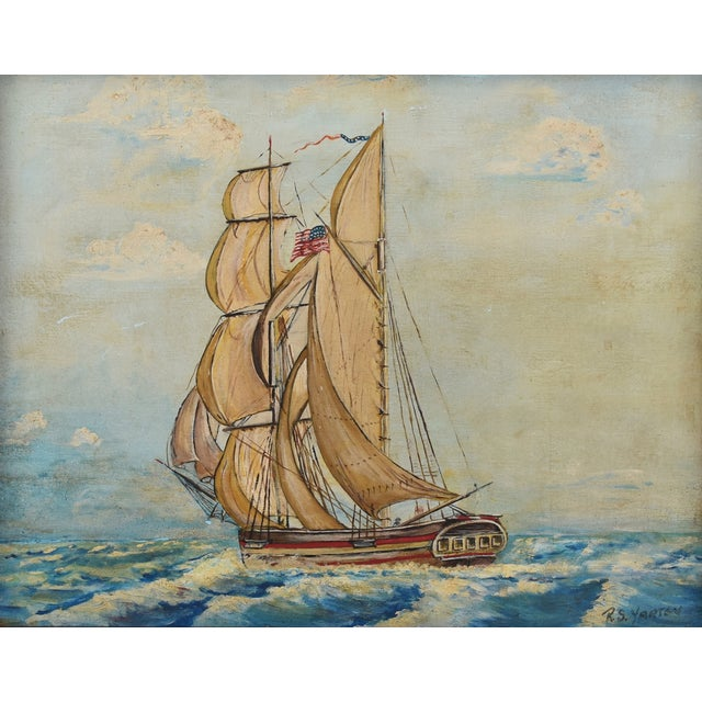 Framed 1940s Sailing Ship Oil Painting - Image 9 of 11