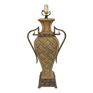 Vintage Urn Style Basket Weave Ceramic Lamp