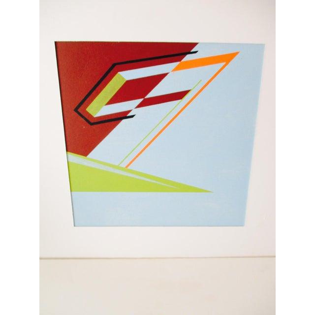 Abstract Geometric Acrylic Painting Hard Edge Style - Image 3 of 8