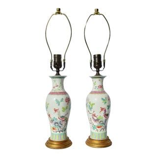 Chinese Enamel on Porcelain Vase Lamps - A Pair