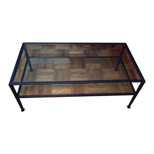 Image of Pottery Barn Tanner Metal & Glass Coffee Table