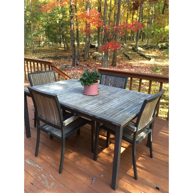 Danish Outdoor Teak Dining Set - S/5 - Image 9 of 9
