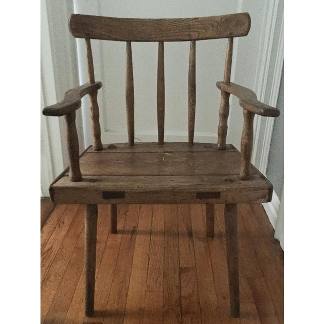 Image of Antique Wood Arm Chair