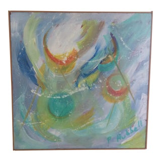 Mid-Century Abstract Painting in Artist Made Frame