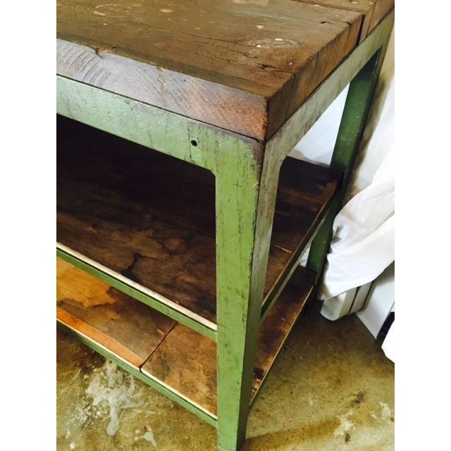 Vintage Steel and Wood Industrial Table - Image 5 of 6