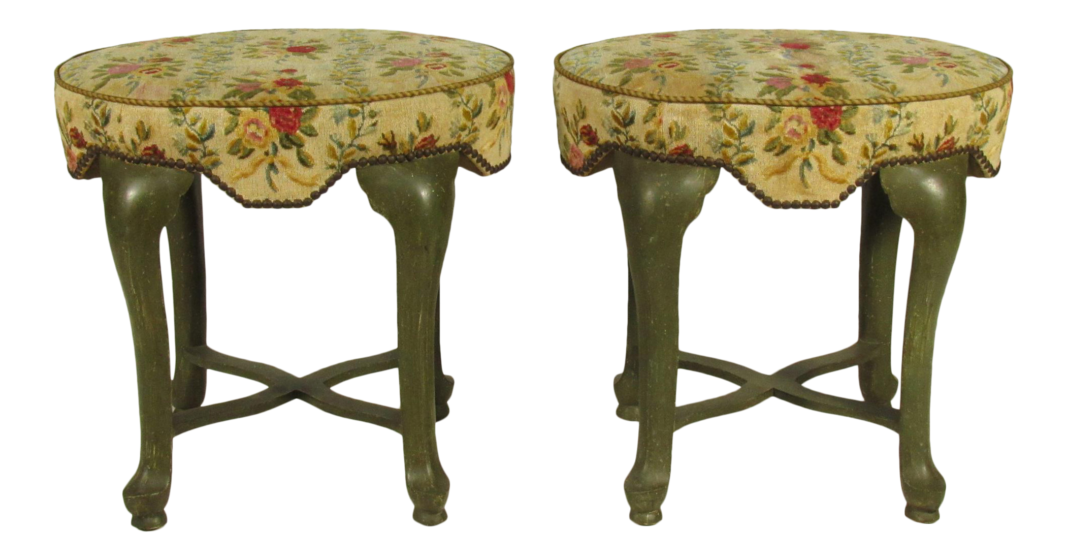 yale burge french painted stools a pair
