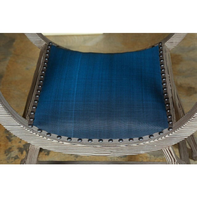 Paul Marra Distressed Fir Bench in Blue Horsehair - Image 4 of 8