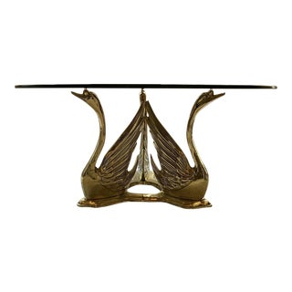 Brass Seated Swan Base Cocktail Table