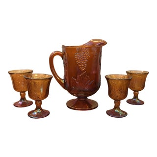 Antique Carnival Glass Pitcher & Glasses - Set of 5