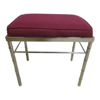 Vintage Mid Century Chrome Faux Bamboo Foot Stool