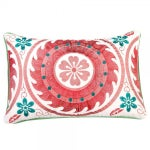 Image of Red Embroidered Moroccan Pillow