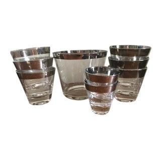 Dorothy Thorpe Silver Rim Glassware - Set of 9