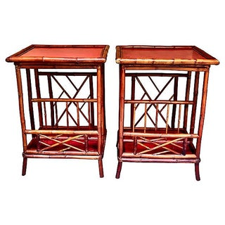 Red Bamboo Side Tables - A Pair