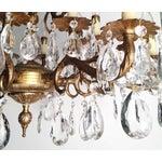 Image of Antique 16-Light Brass/Bronze Crystal Chandelier