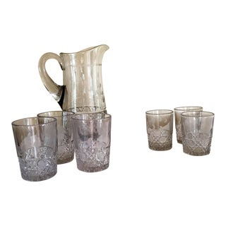 Antique Crystal Pitcher & Glasses - Set of 7
