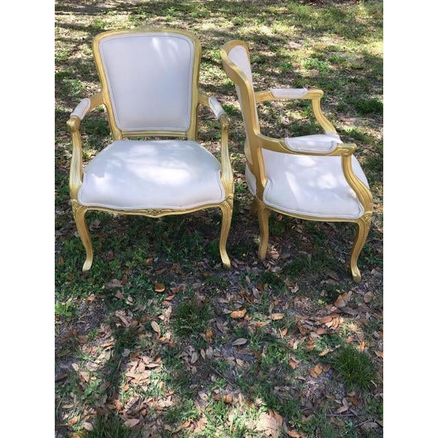 Vintage Ivory Linen Upholstered Armchairs - A Pair - Image 2 of 7