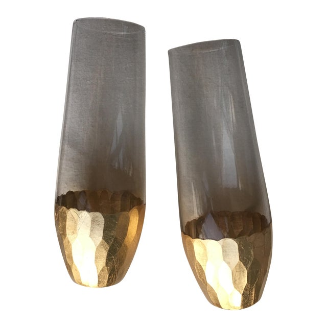 Gold Leaf Base Champagne Flutes - A Pair - Image 1 of 7