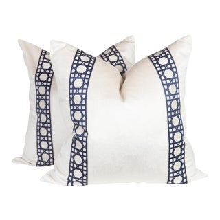 Pearl Velvet & Navy Blue Lattice Pillows - A Pair