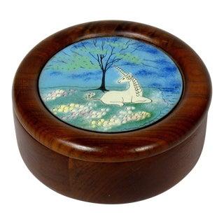 Unicorn Enamel & Wood Box