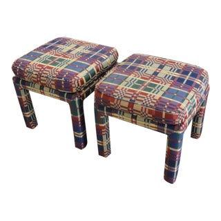 Upholstered Parson Style Benches - A Pair