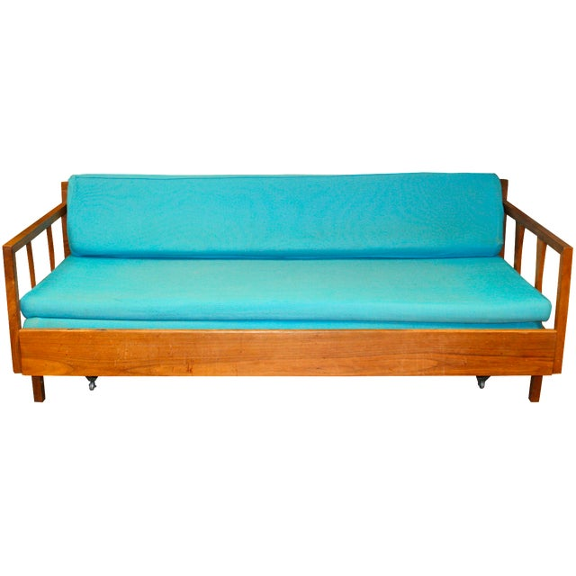 Mid century danish modern sofa with pullout daybed chairish for Mid century daybed sofa