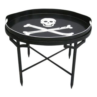 French Tin Cocktail Table with Detachable Skull and Cross Bones Serving Tray