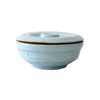 Vintage Blue Glazed Ceramic Bowl with Lid