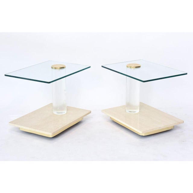 Pair of American Modern Travertine Marble, Lucite and Glass Tables Lion in Frost - Image 2 of 7