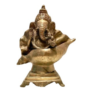Vintage Solid Brass Good Luck Elephant Buddha in a Shell Sculpture