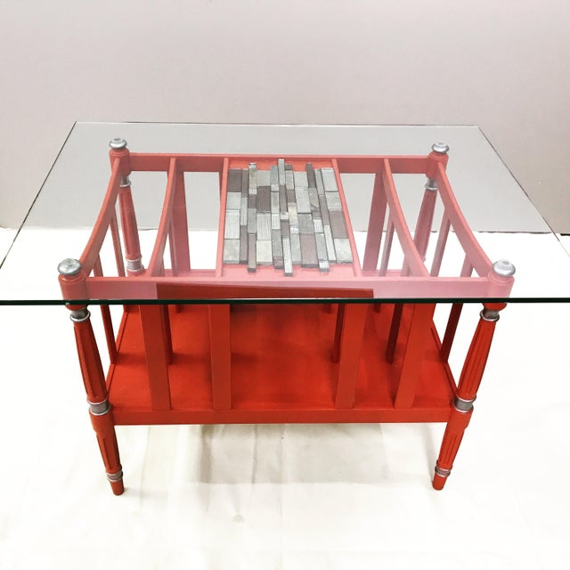 Magazine Rack Glass Top Coffee Table - Image 3 of 9