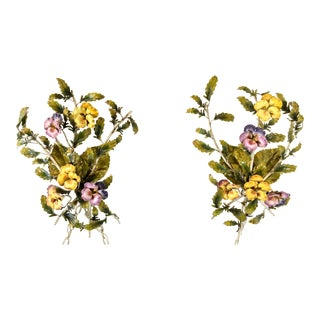 1960s Italian Tole Pansy Sconces - A Pair