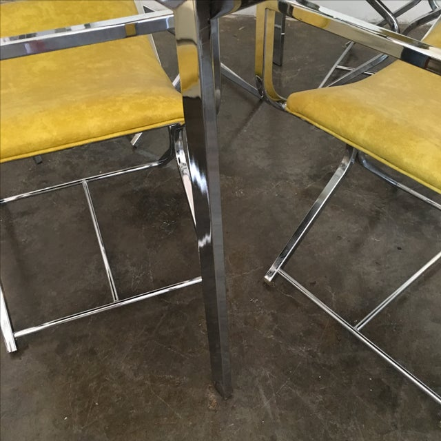 Chrome and Glass Game and or Dining Table and Four Chrome and Lucite Armchairs - Image 6 of 11