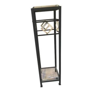 80's Style Art Deco Lucite & Metal Pedestal Table