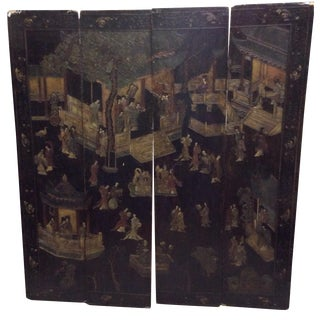 Antique Chinoiserie Black 4-Panel Screen
