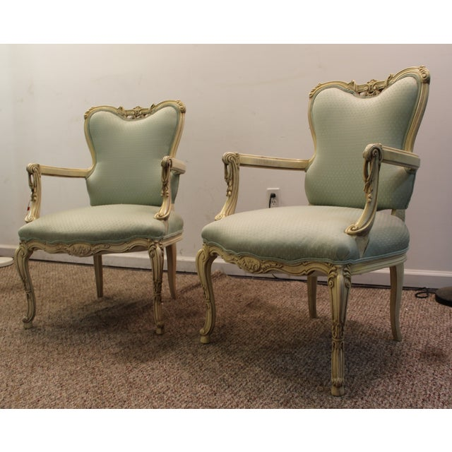 French Louis XV Ladies Open Arm Chairs - A Pair - Image 3 of 11