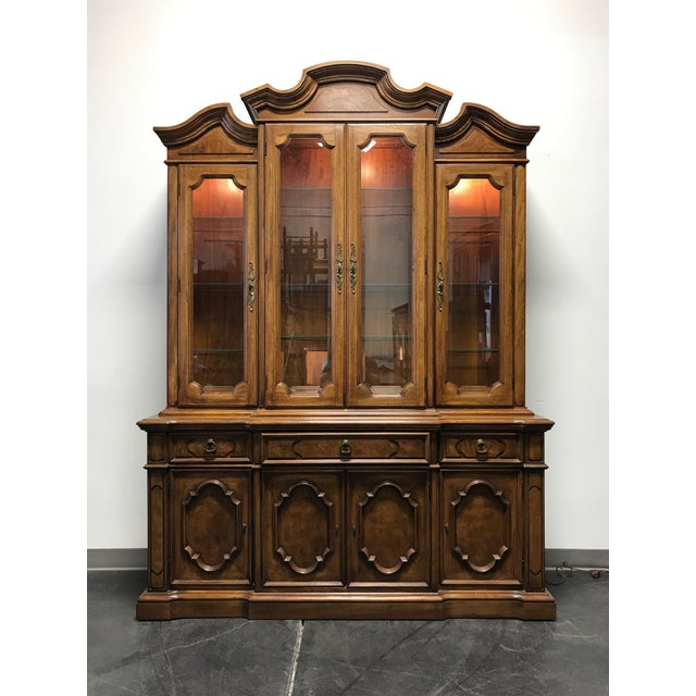 THOMASVILLE Ceremony Collection Burl Walnut Breakfront China Display Cabinet - Image 11 of 11