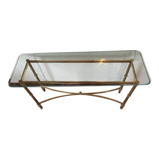 Antique Brass & Glass Foyer Table