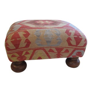 Turkish Kilm Covered Ball Foot Ottoman