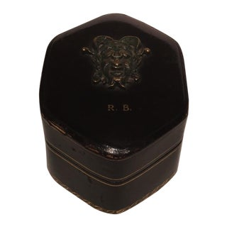 Dunhill Tooled Leather Box with Roman Bronze Mask