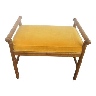 Mid-Century Hollywood Regency Faux Bamboo Vanity/ Window Bench