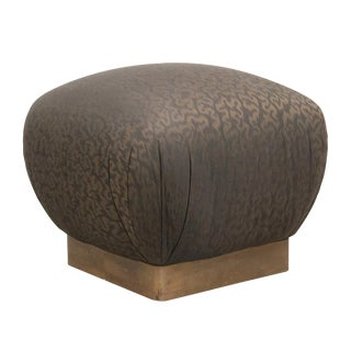 Marge Carson Upholstered Pouf With Brass Base