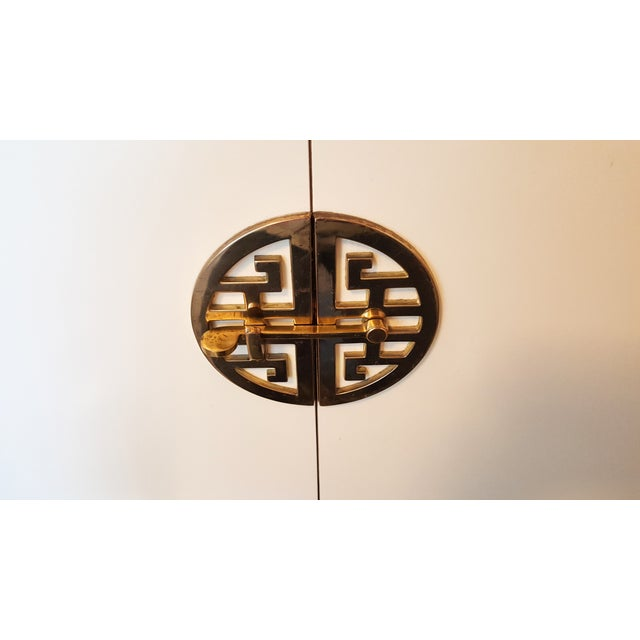 Image of 1970s Lacquered Brass and Acrylic Credenza